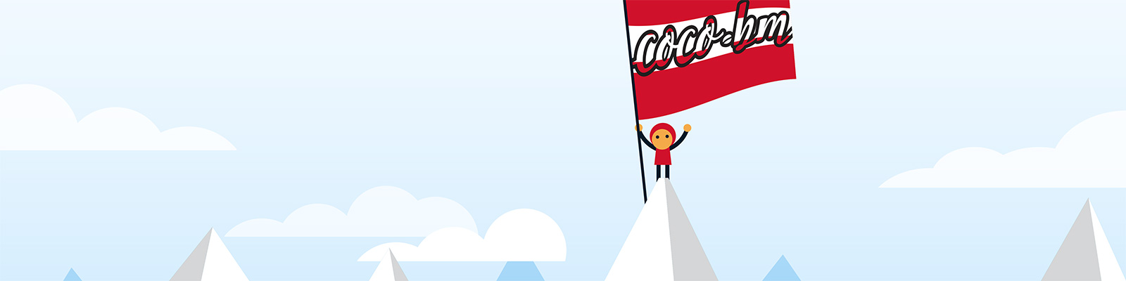Austrian Mountain Illustration With Little Red-suited Man And A Coco.bm Flag